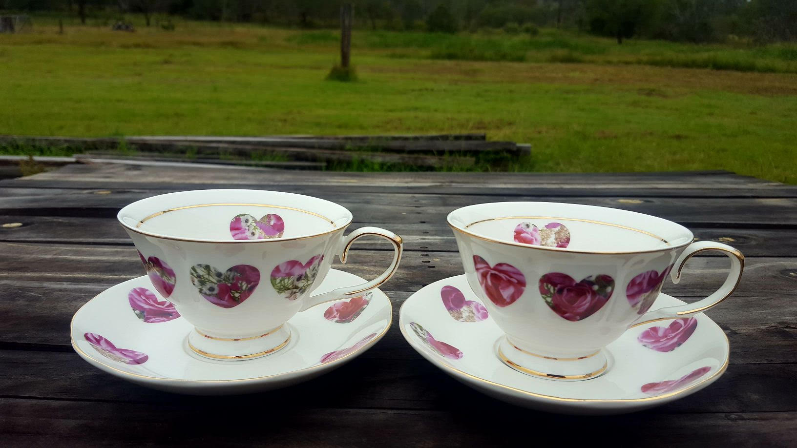 Candy Bloom Heart 2 Cup and Saucer Set Custom