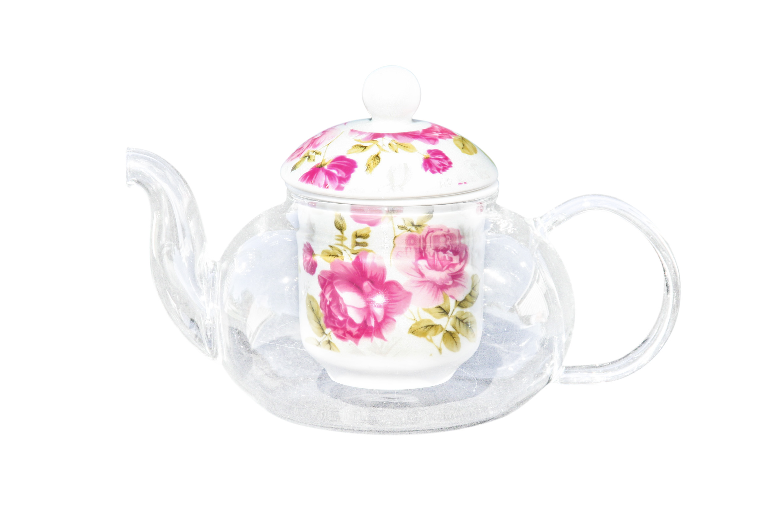 Glass/Porcelain Infused Teapot Candy Rose