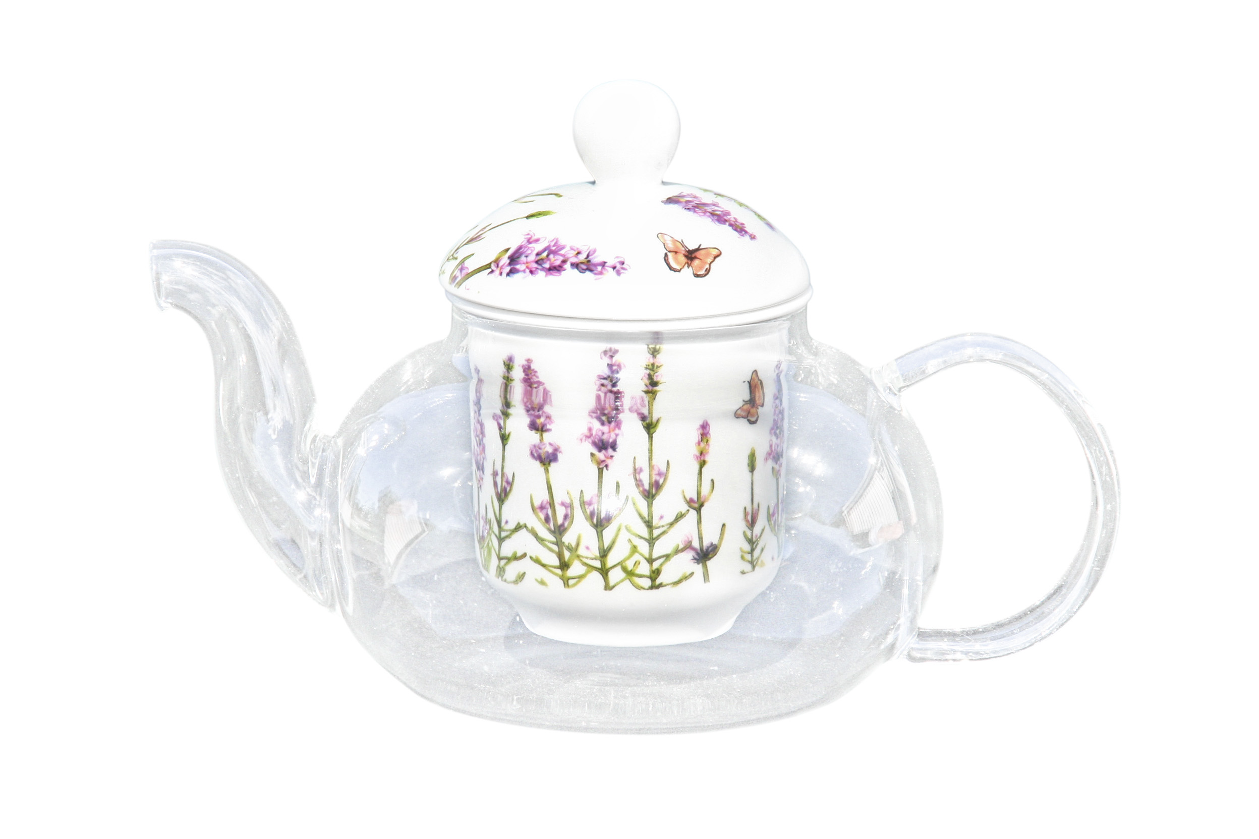 Glass/Porcelain Infused Teapot Lavender