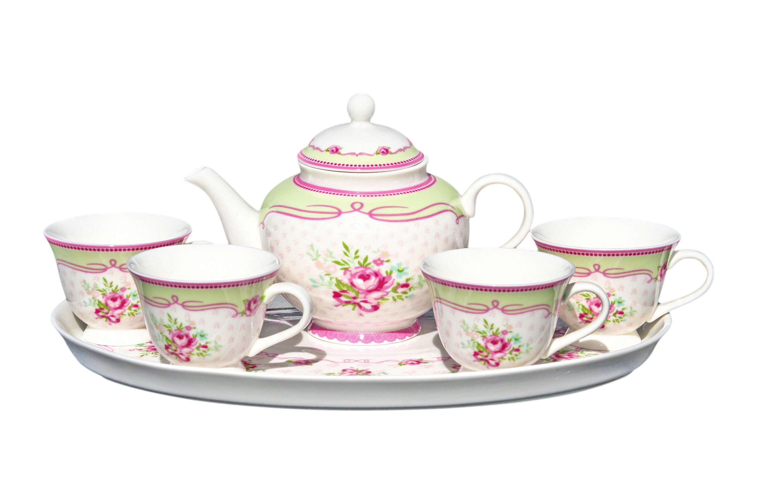 Porcelain 6pc Infused Teaset Angel Rose