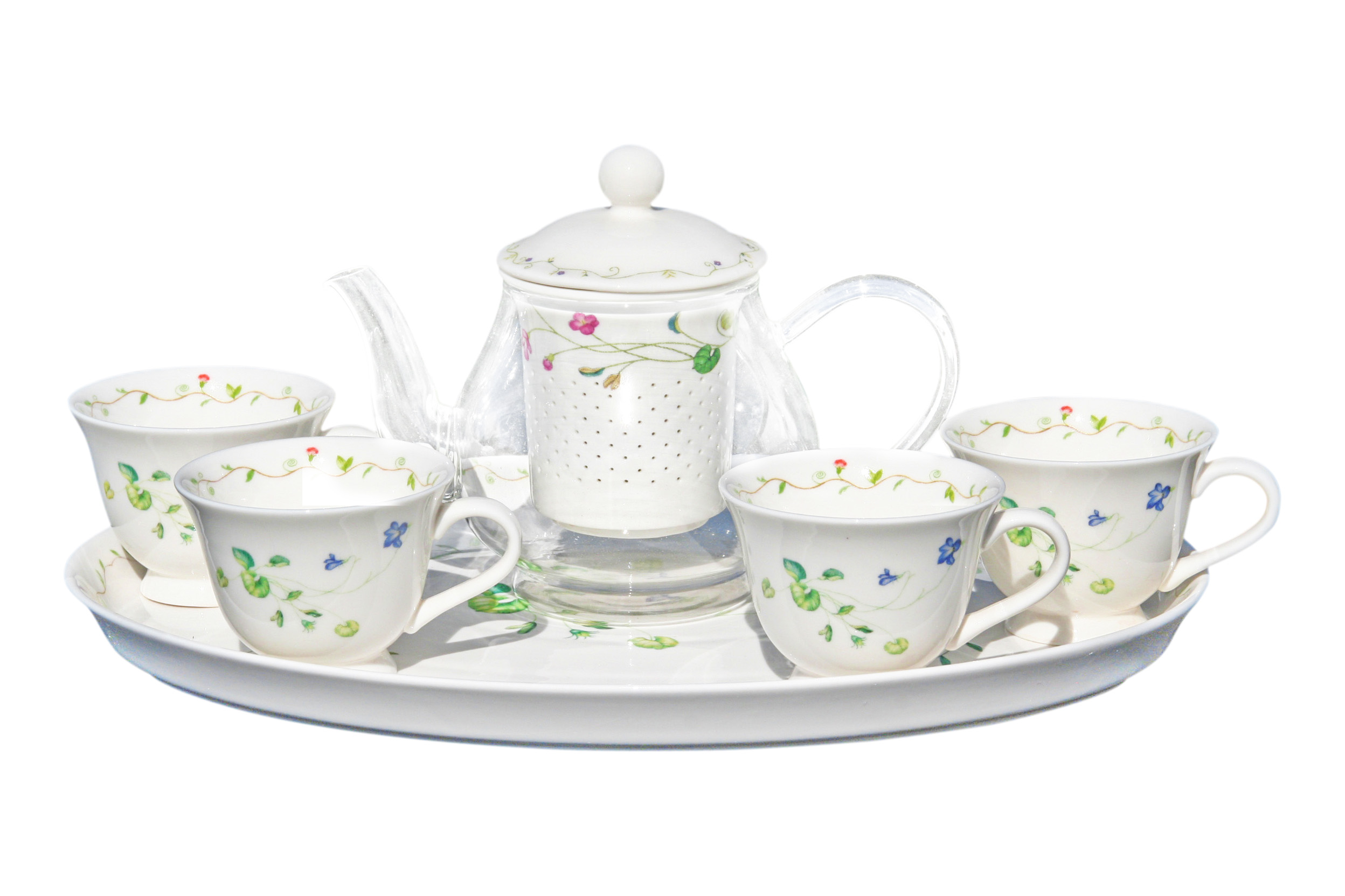 Glass/Porcelain 6pc Infused Tea Set Rainforest