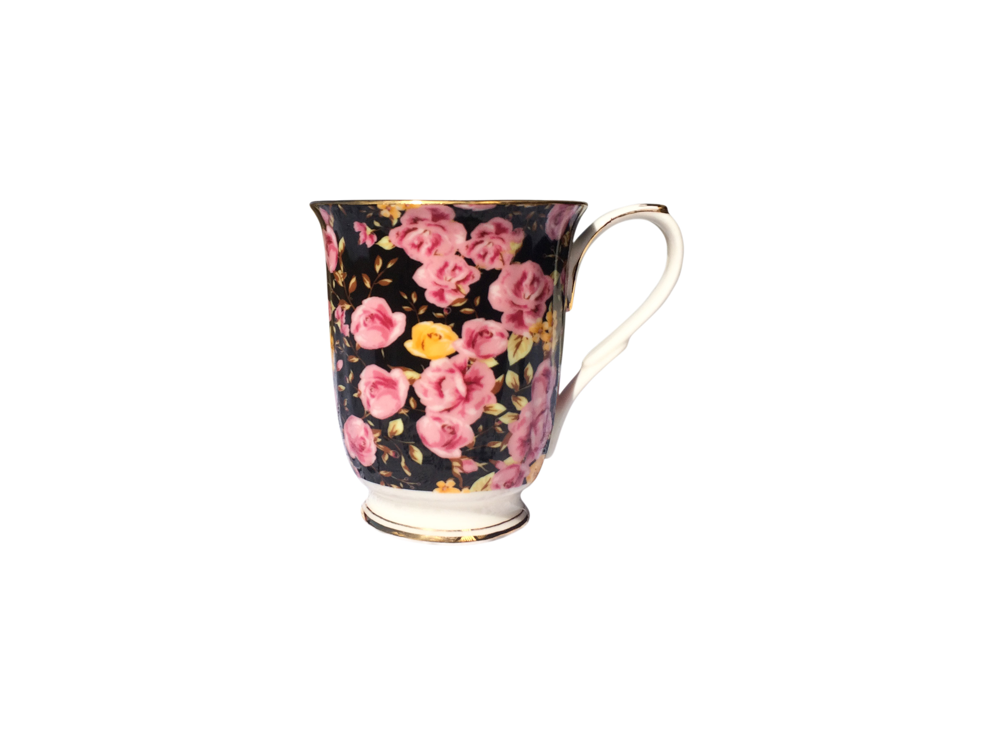 Midnight Rose Garden Chintz Beaker