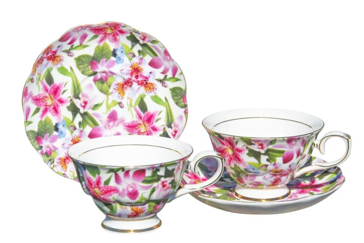 Lily Rainbow 2 Cup & Saucer Set