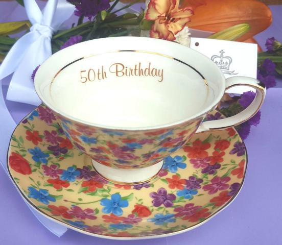 50th Birthday Cup & Saucer Set