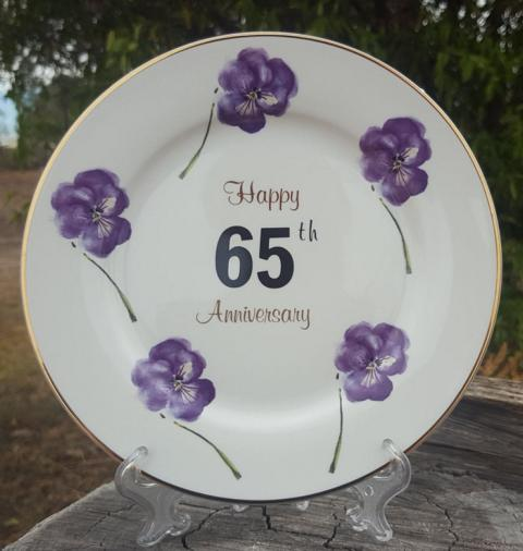 65th Anniversary Plate Pansy (Custom)
