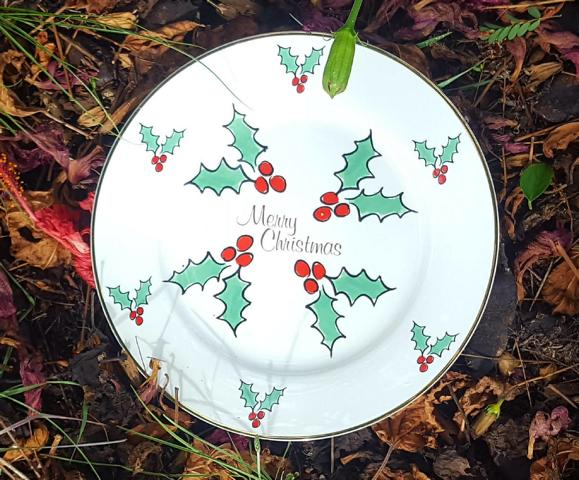 Merry Christmas Holly Display plate (custom)