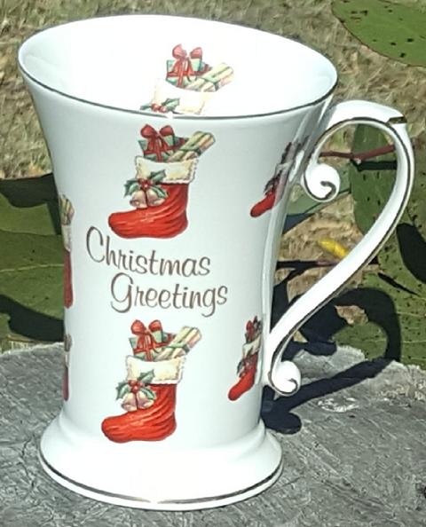 Christmas GreetingsTall Beaker Red Stockings