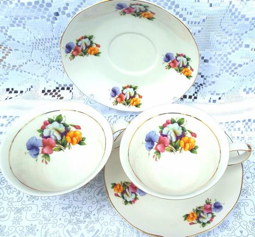 Sweet Pea 2 Cup and Saucer Set (Custom)