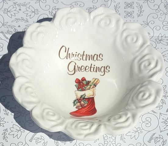 Christmas Greetings Red Stocking Bowl