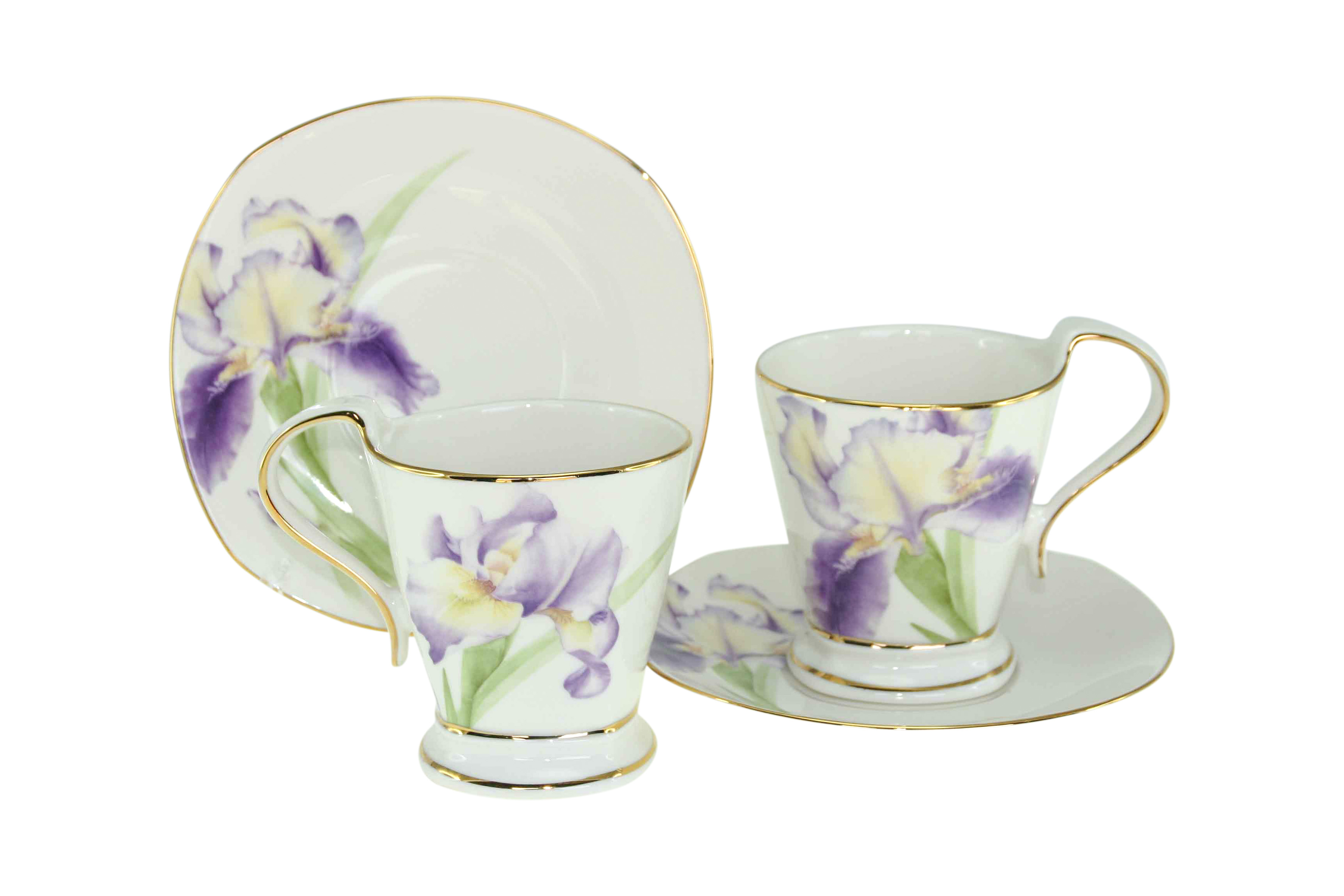 Purple Iris 2 Cup & Saucer Set