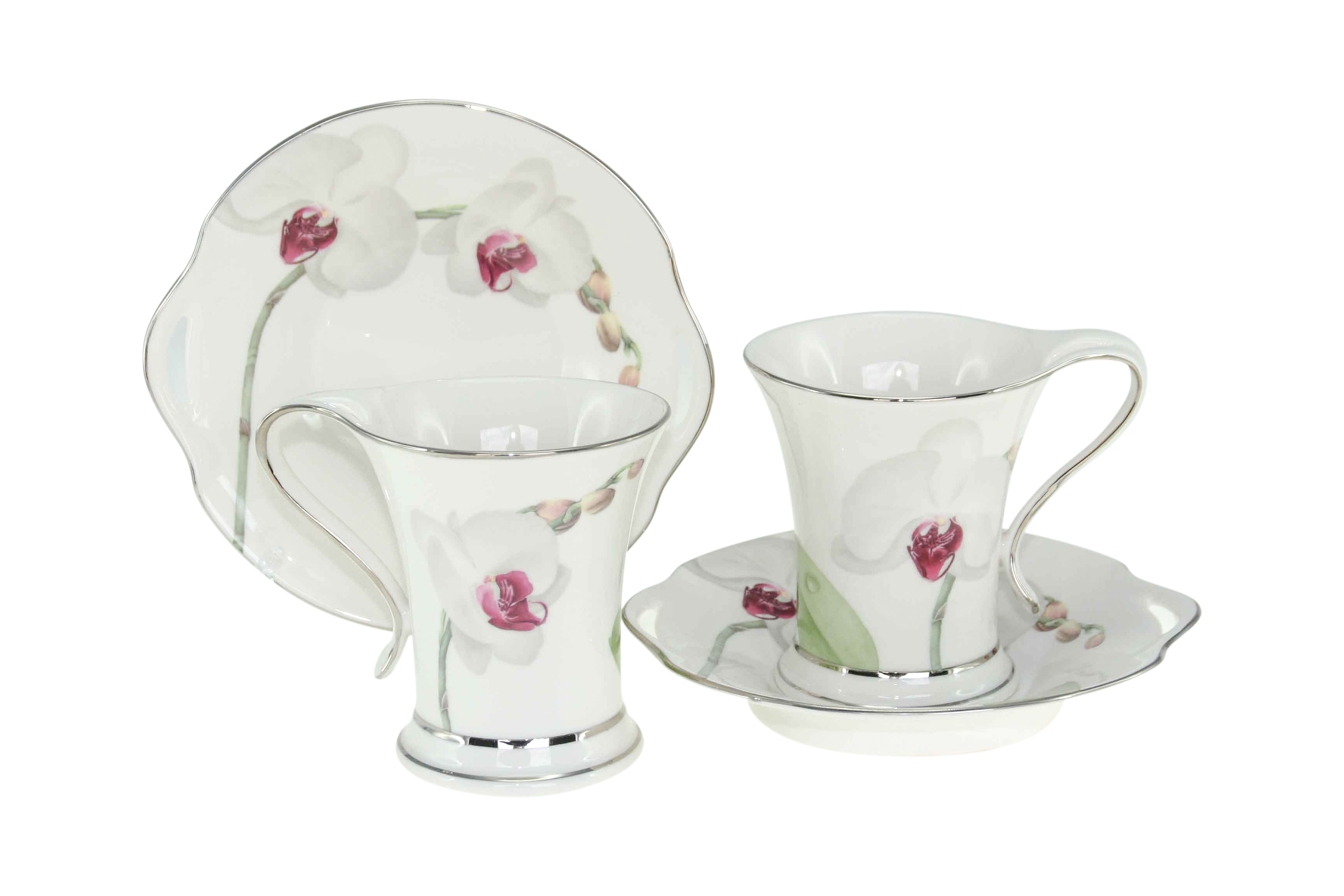 White Flower 2 Cup & Saucers Set