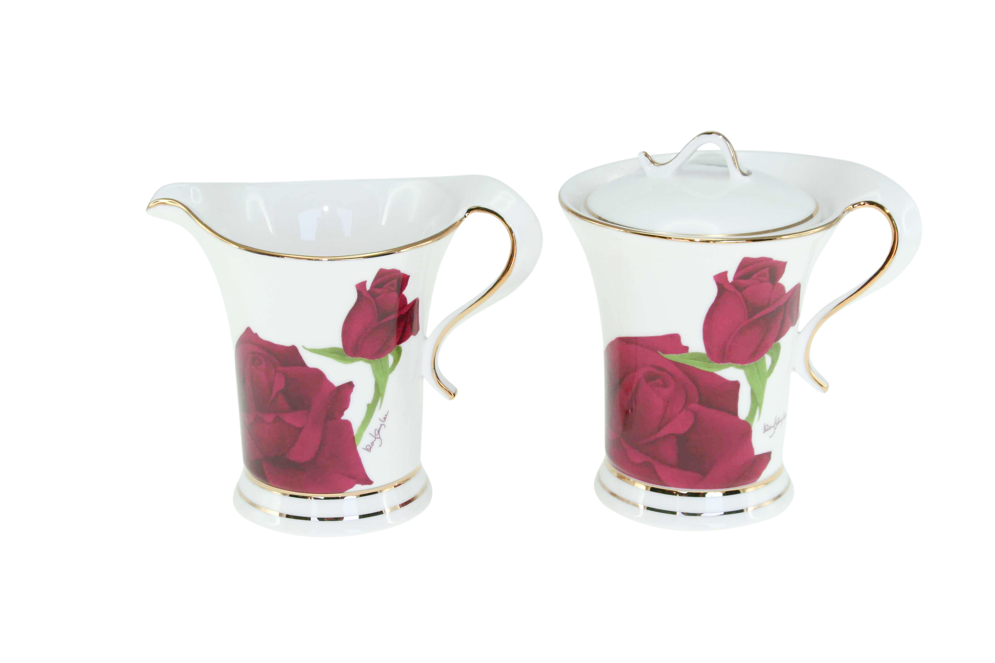 Maroon Rose Sugar & Creamer Set