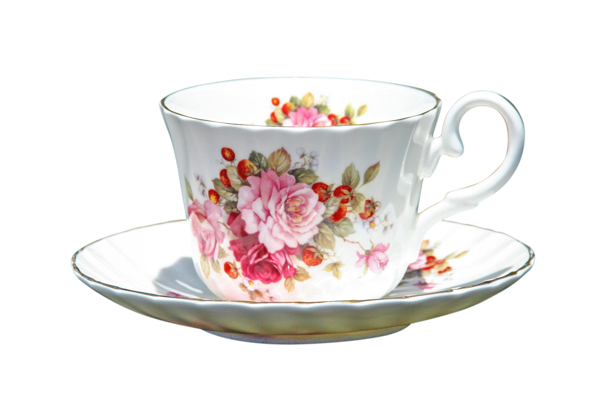 Strawberry Rose 1 Cup & Saucer Set