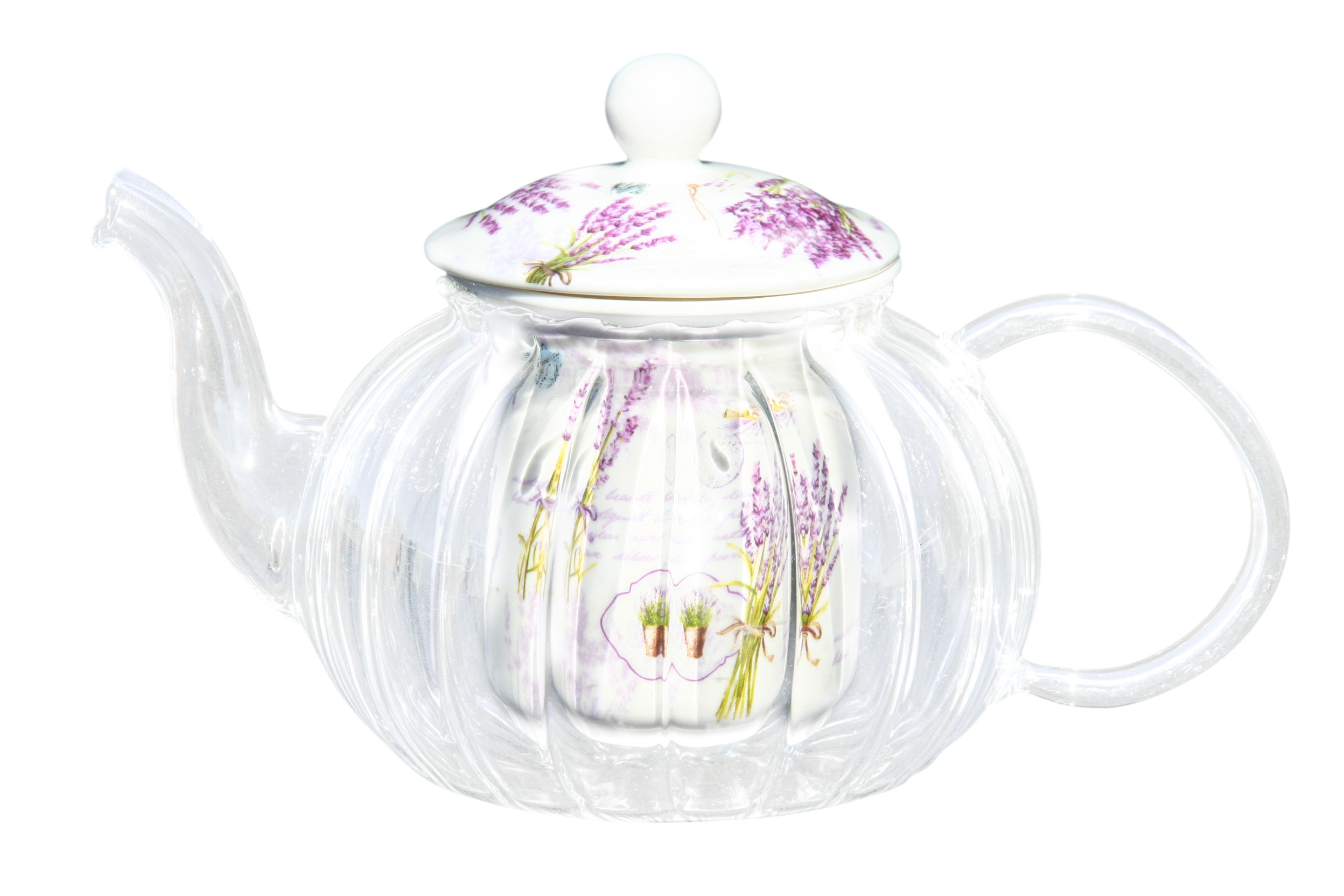 Glass/Porcelain Infused Teapot Purple Swirl