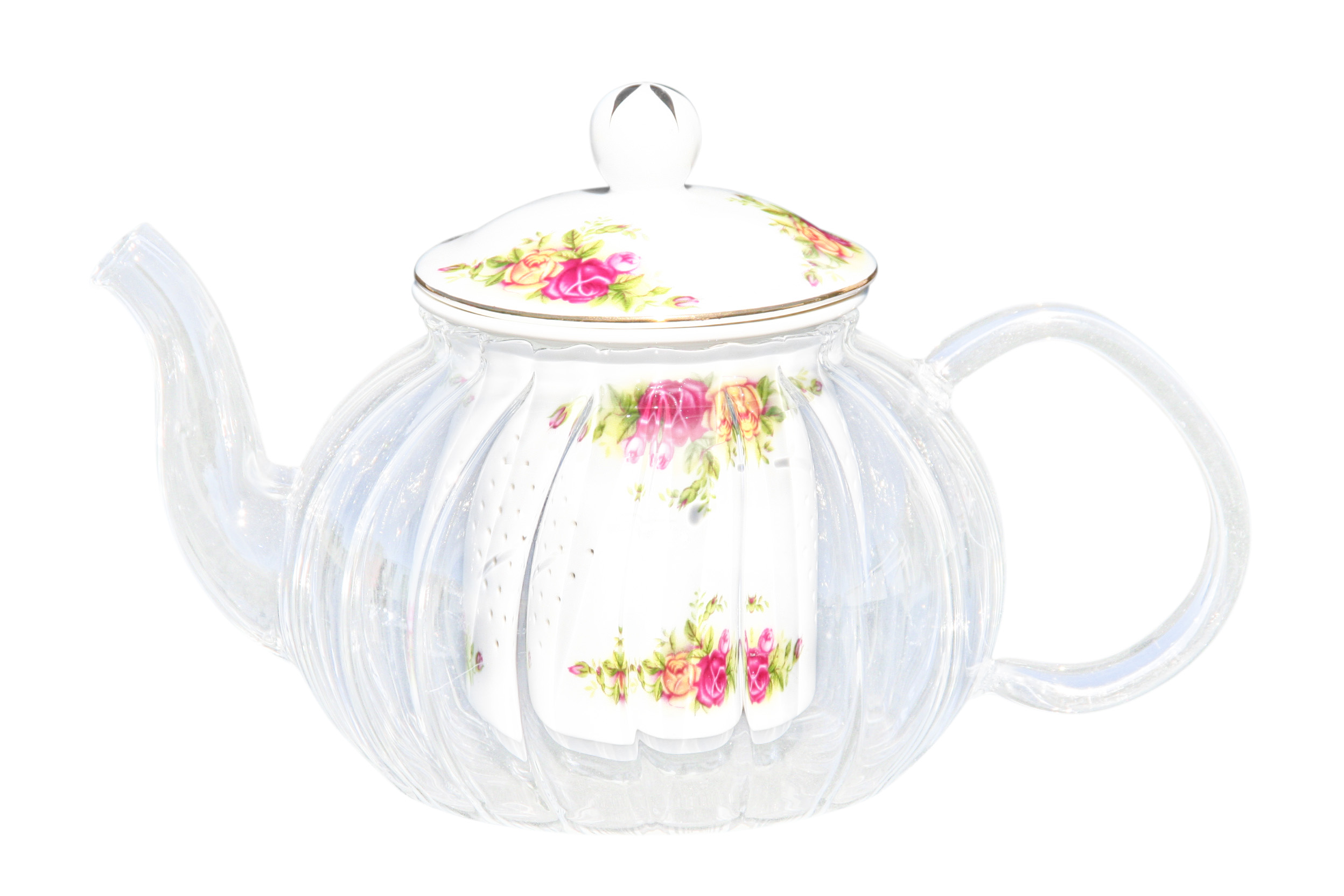 Glass/Porcelain infused Teapot Old England