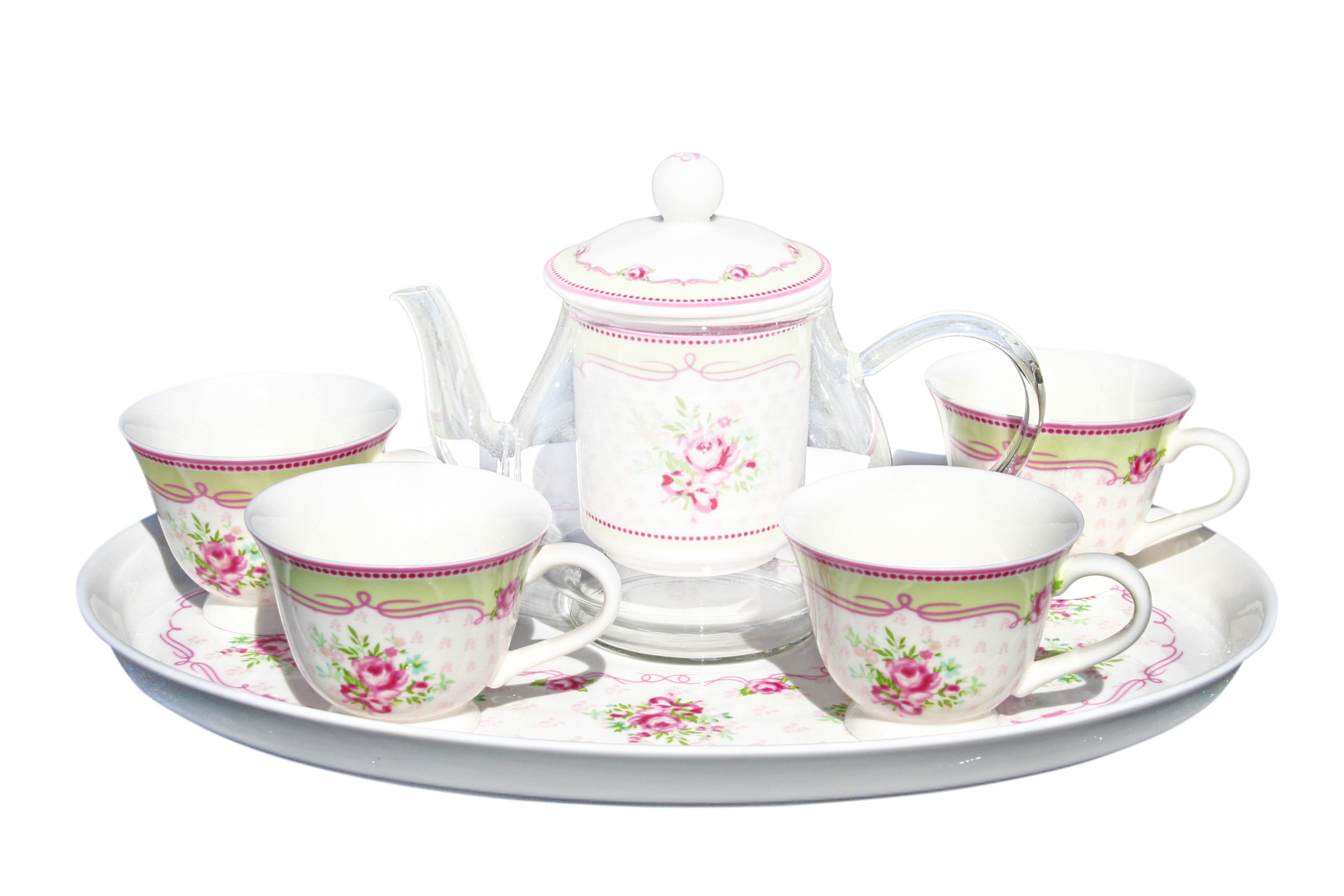 Glass/Porcelain 6pc Infused Tea Set Angel Rose