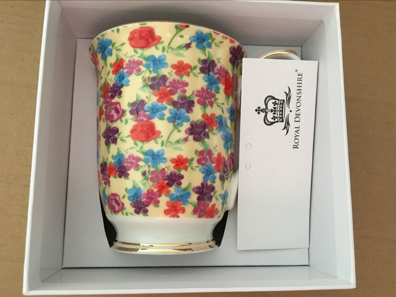 Cream Flower Garden Chintz Beaker