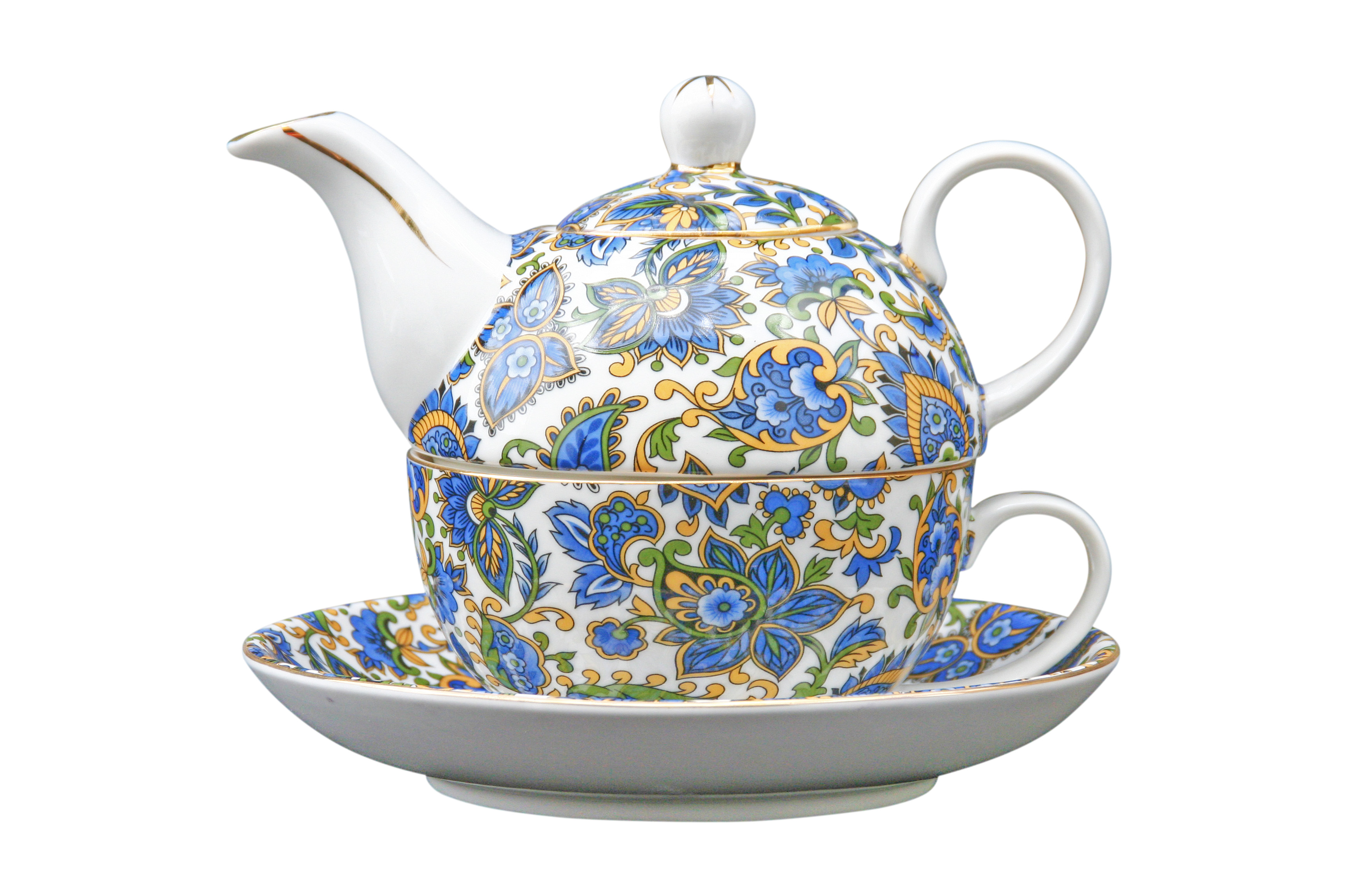 Paisley Blue tea for one set