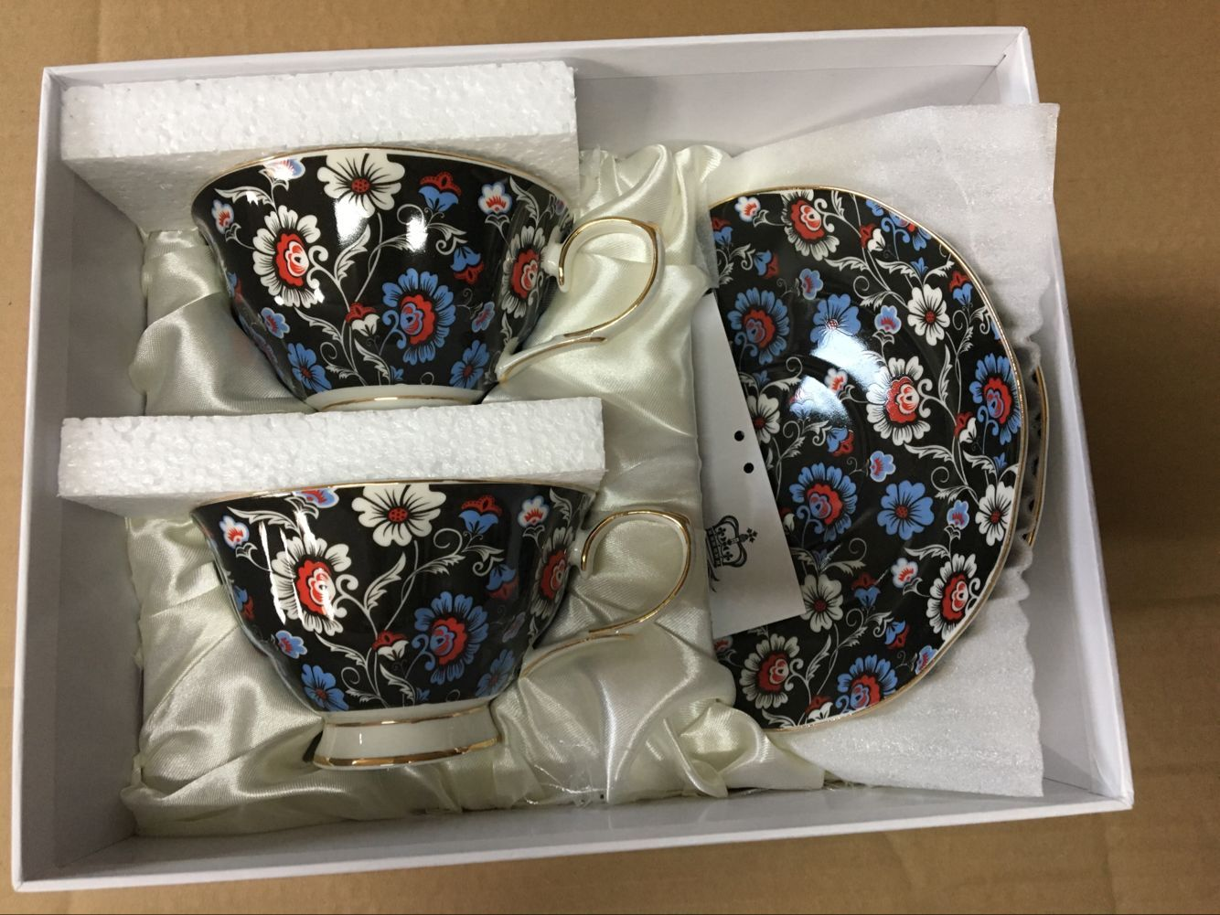 Royal Blue Sprays 2 cup & saucer set