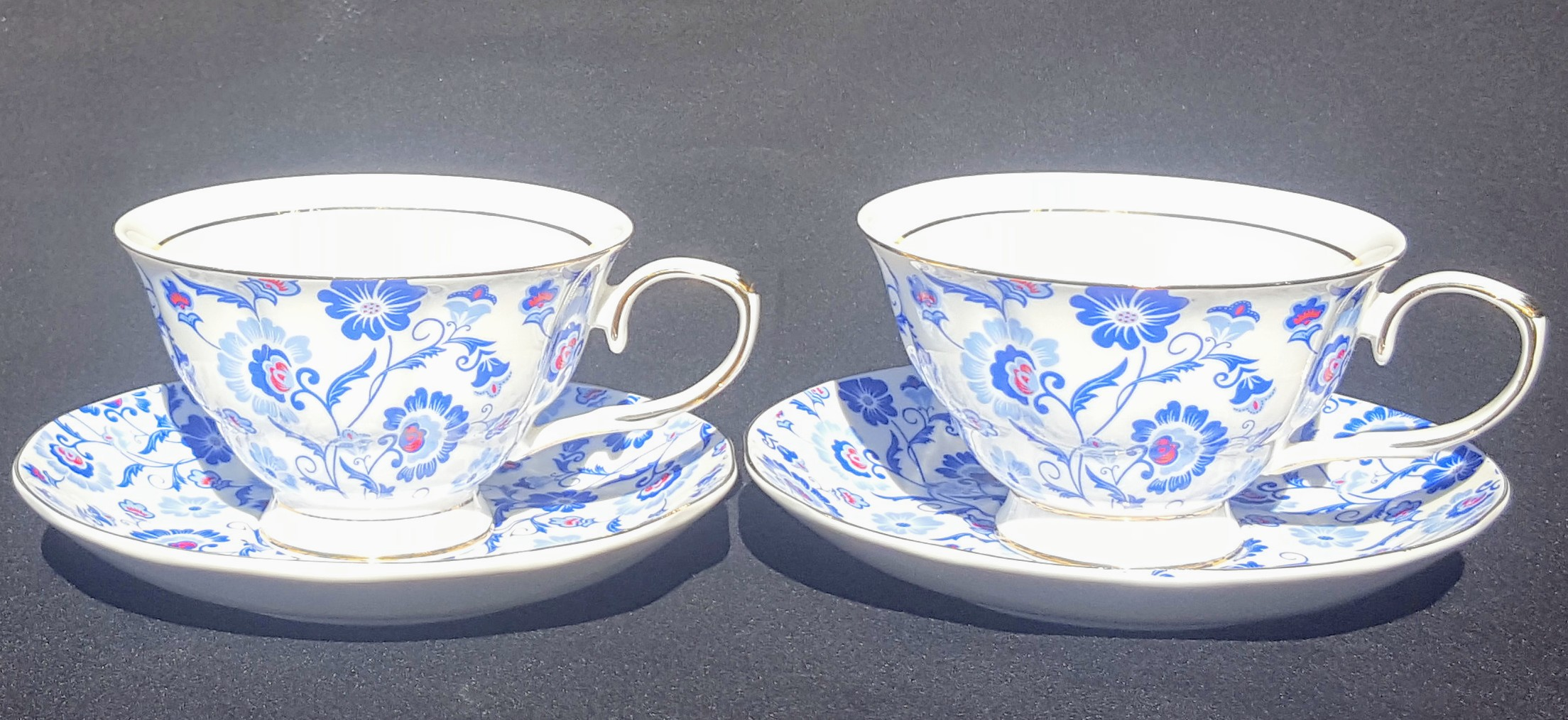 Sunshine Blue Sprays 2 cup & saucer set
