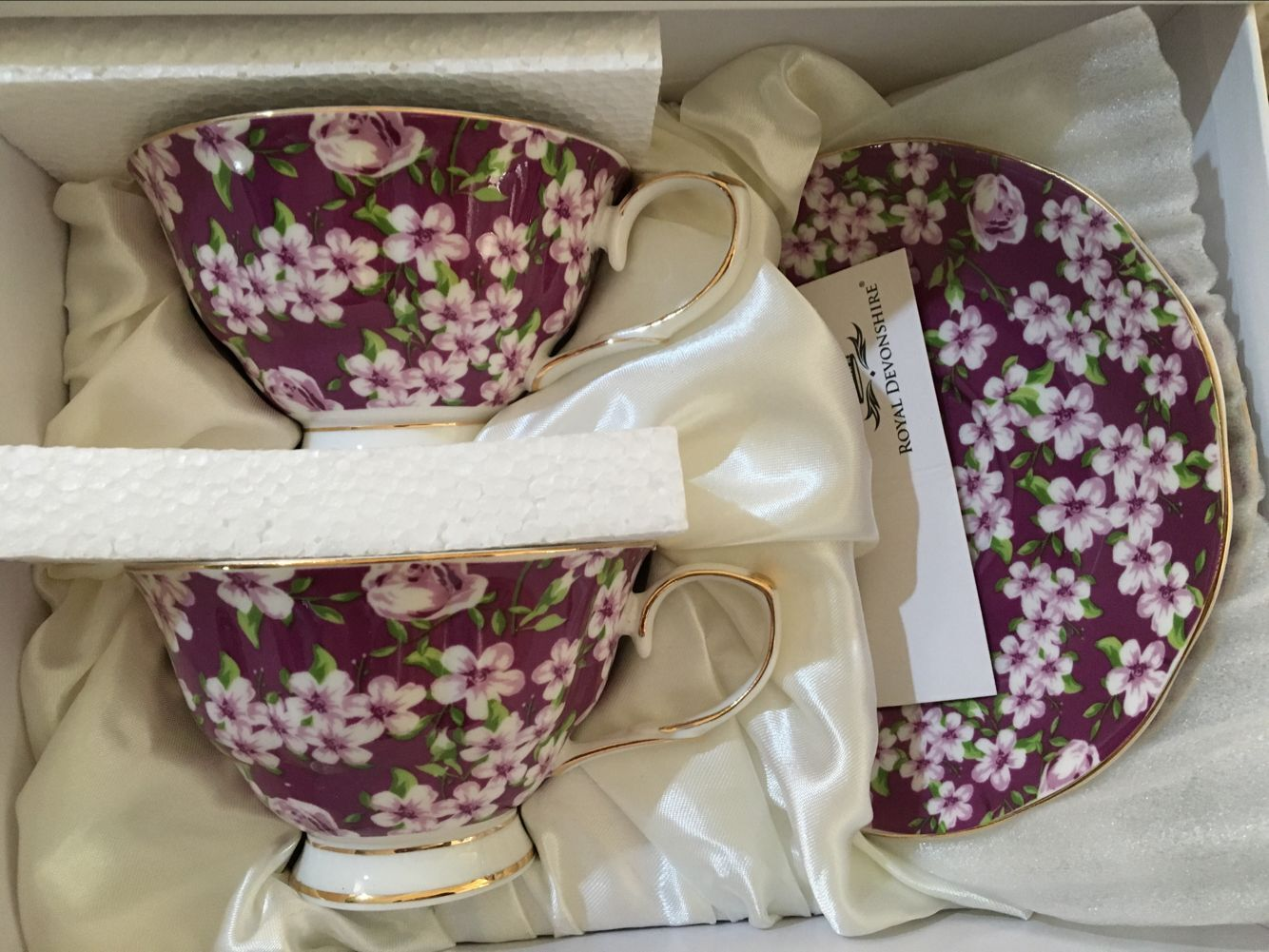 Violet Meadow 2 cup & saucer set - Click Image to Close
